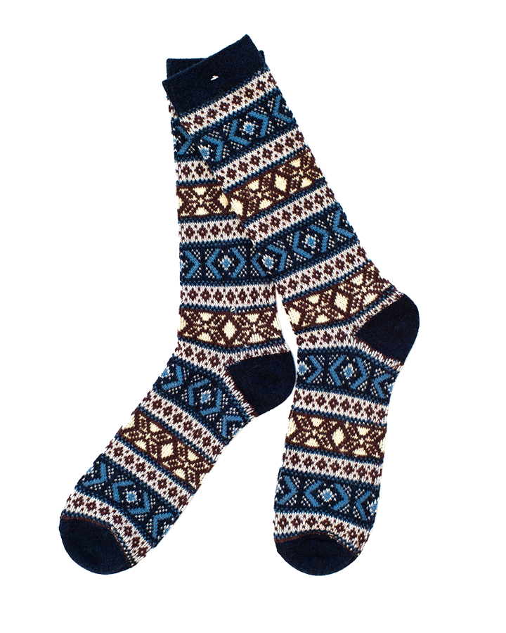 Wool Jacquard Sock - Navy