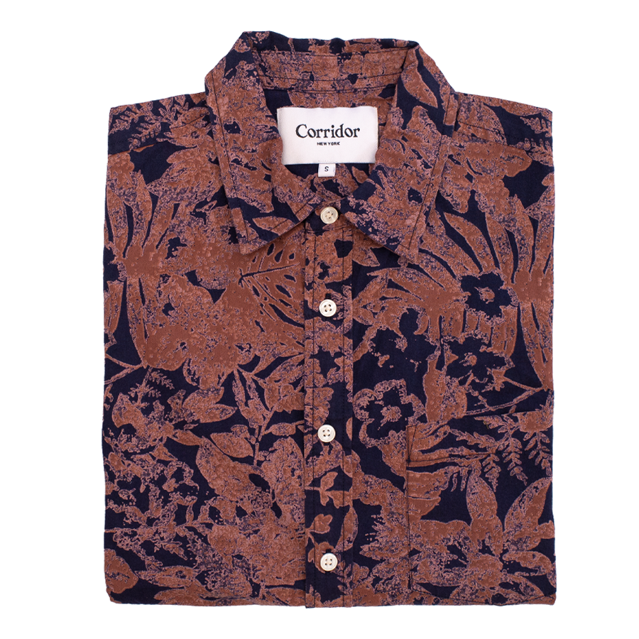 Photo Negative Hawaiian S/S Shirt - Navy