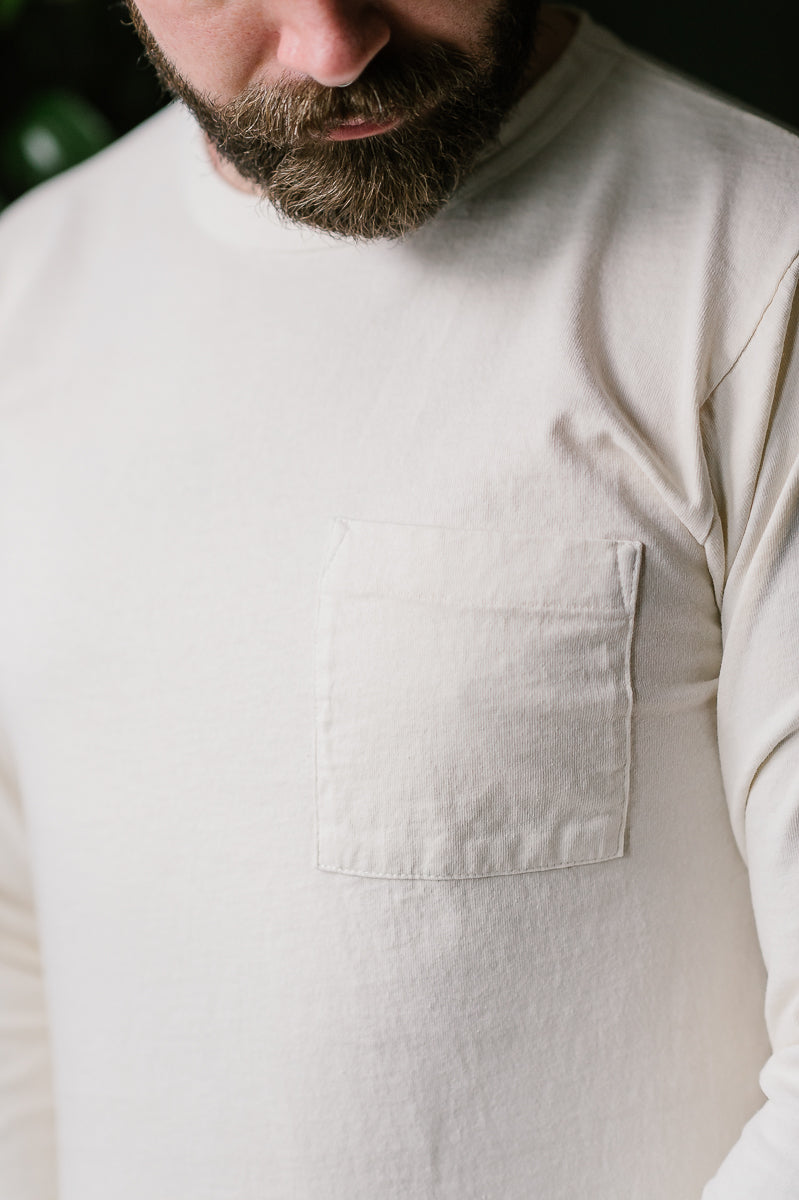 Heavy Duty Long Sleeve Pocket Tee - Natural