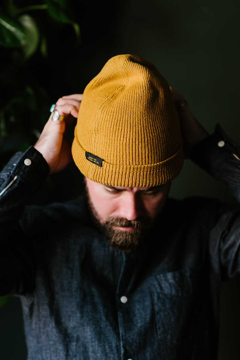 Wool Knit Watch Cap - Old Gold