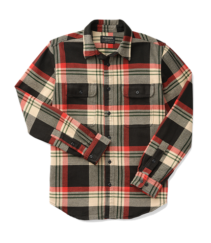 Vintage Flannel Work Shirt - Black, Red, Cream