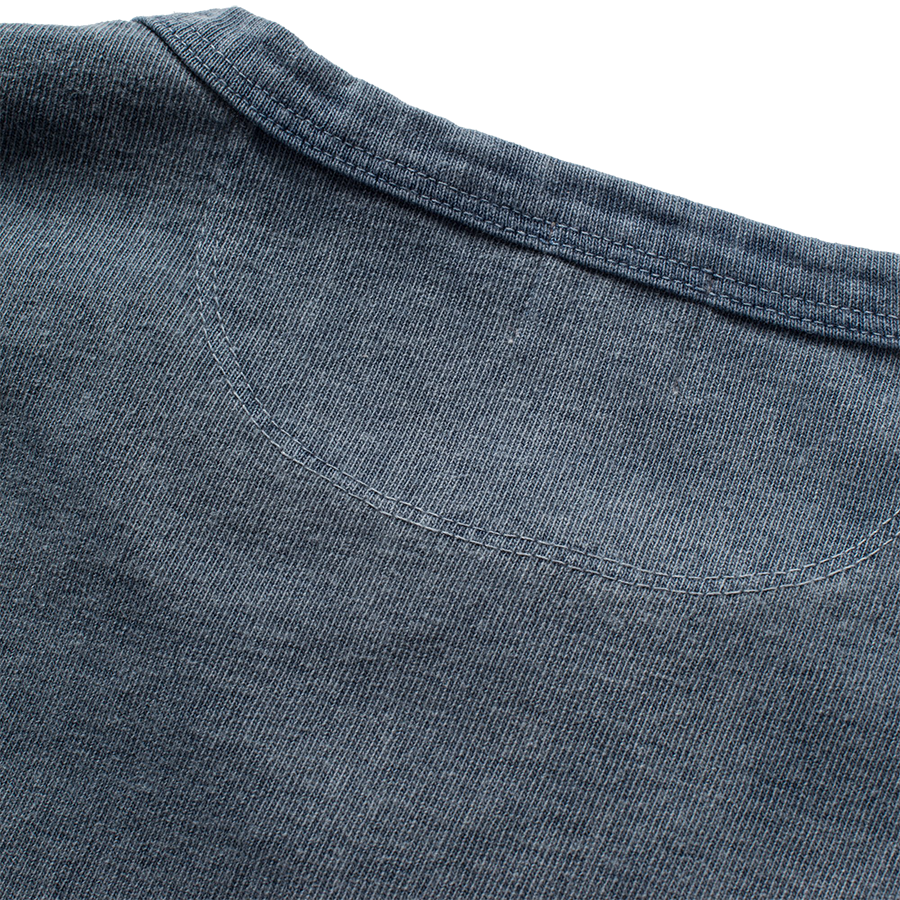 13oz Henley L/S - Faded Blue