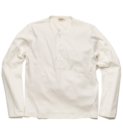 13oz L/S Henley - White