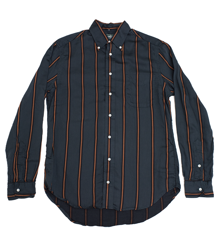 Classic Shirt - Grey Satin Regimental Stripe