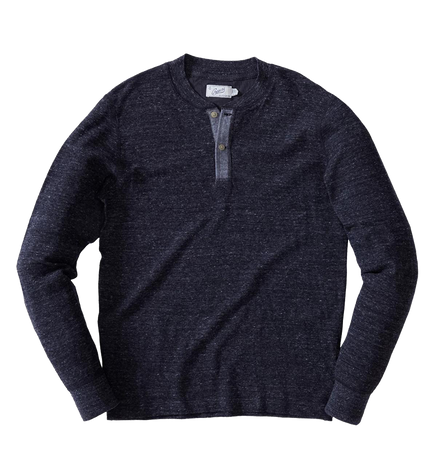 Windsor Double Cloth Henley - Charcoal Heather