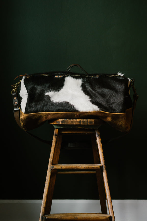 Cowhide Rug Duffel - White/Black - Special Edition
