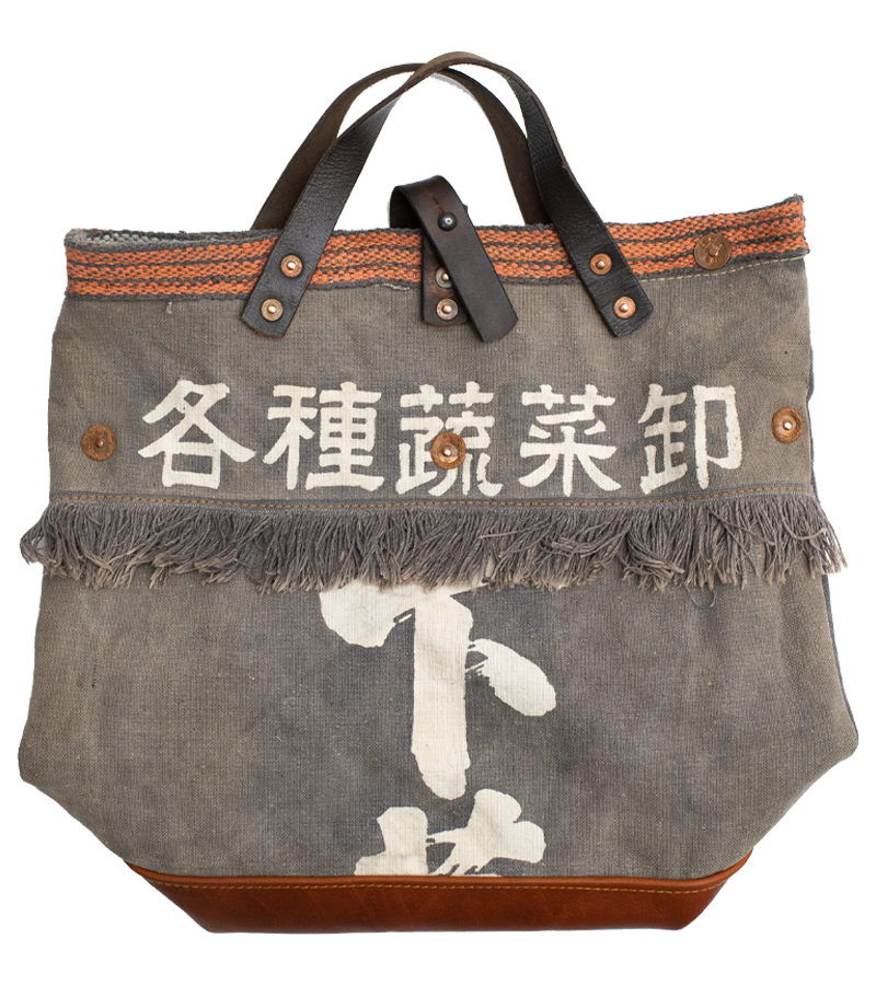 Japanese Vintage Canvas Open Tote Bag - Grey