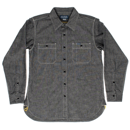 IHSH-21-BLK - 10oz Selvedge Chambray Work Shirt - Black