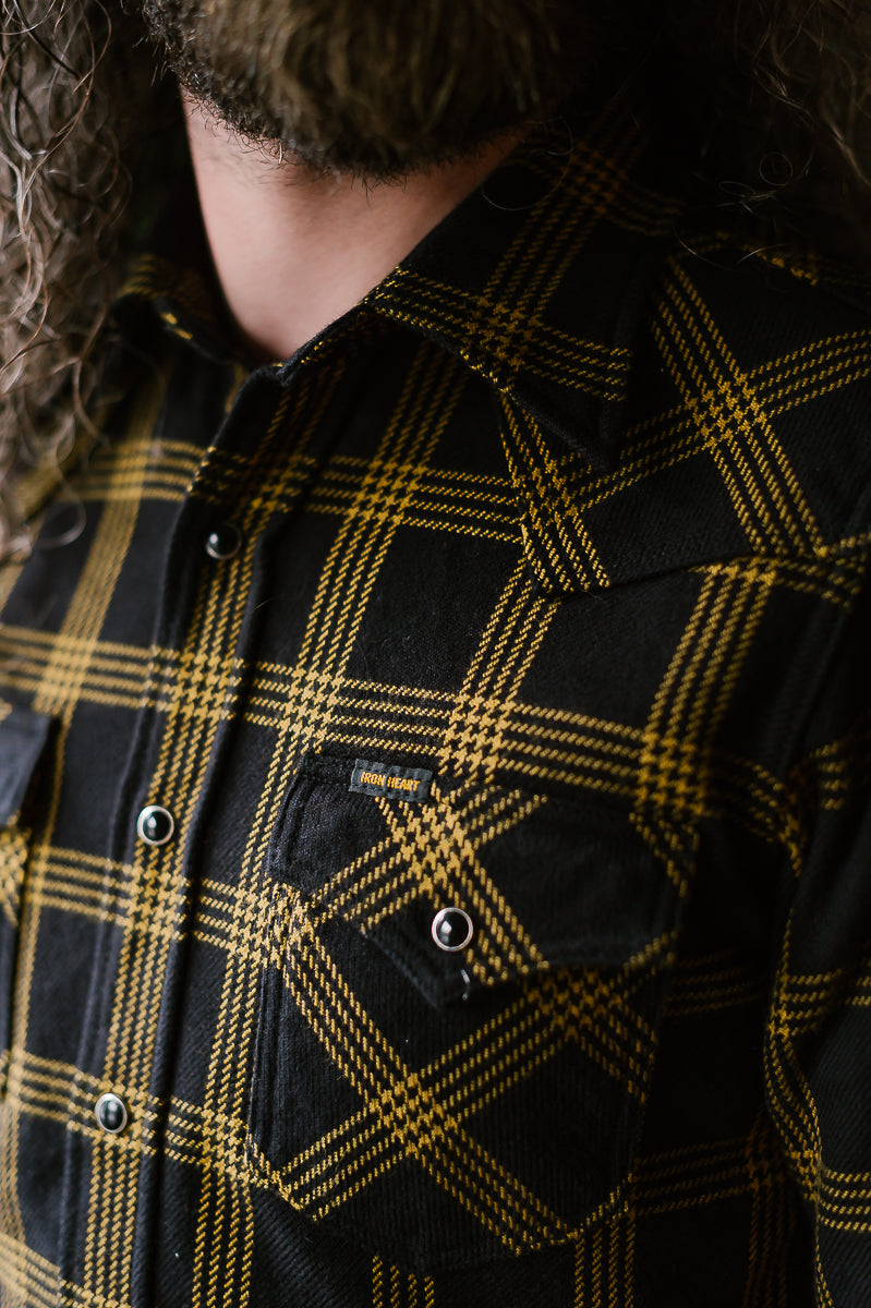 IHSH-261-BLK - Windowpane Check Ultra Heavy Flannel Western - Black