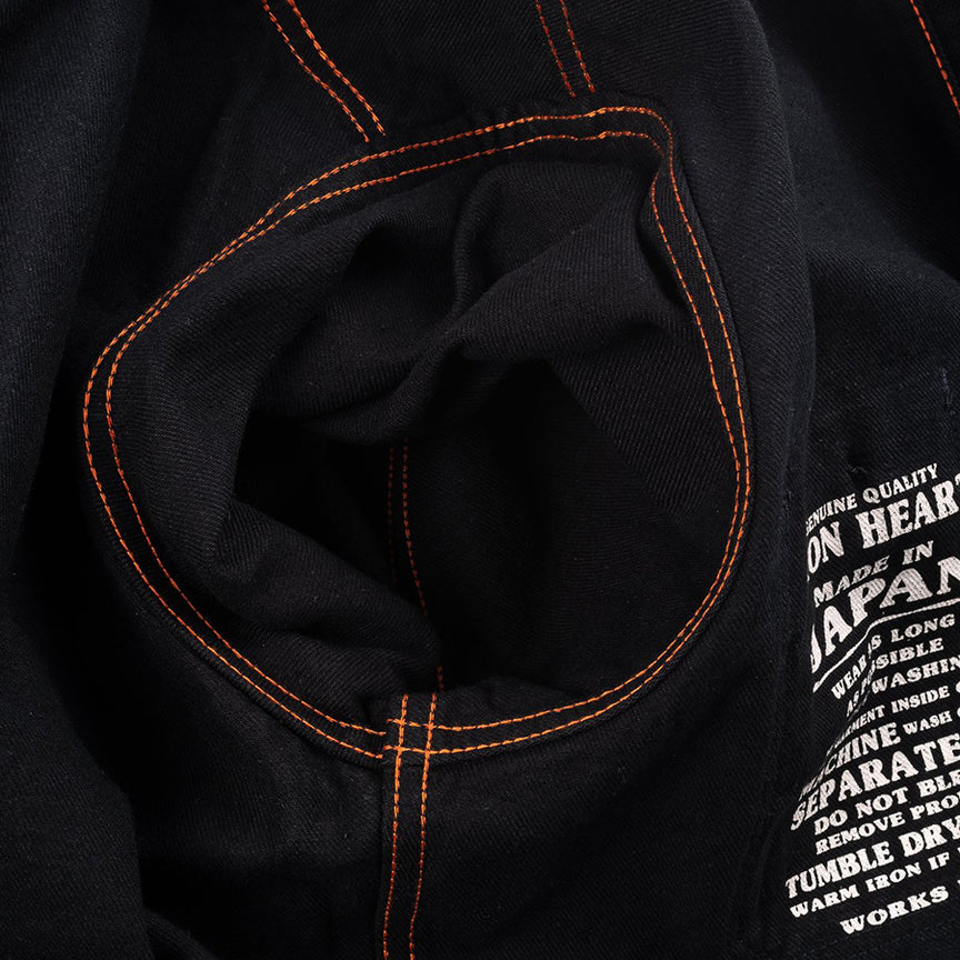 "IHSH-275-BLK - 12oz Selvedge Denim Work Shirt ""The Johnny Cash Works Again"" - Black"