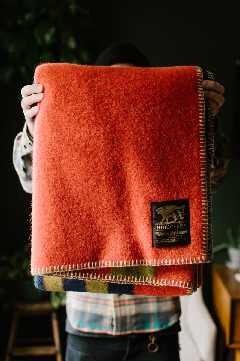 Treasure Trail Blanket - Coral Pink, Navy, Olive