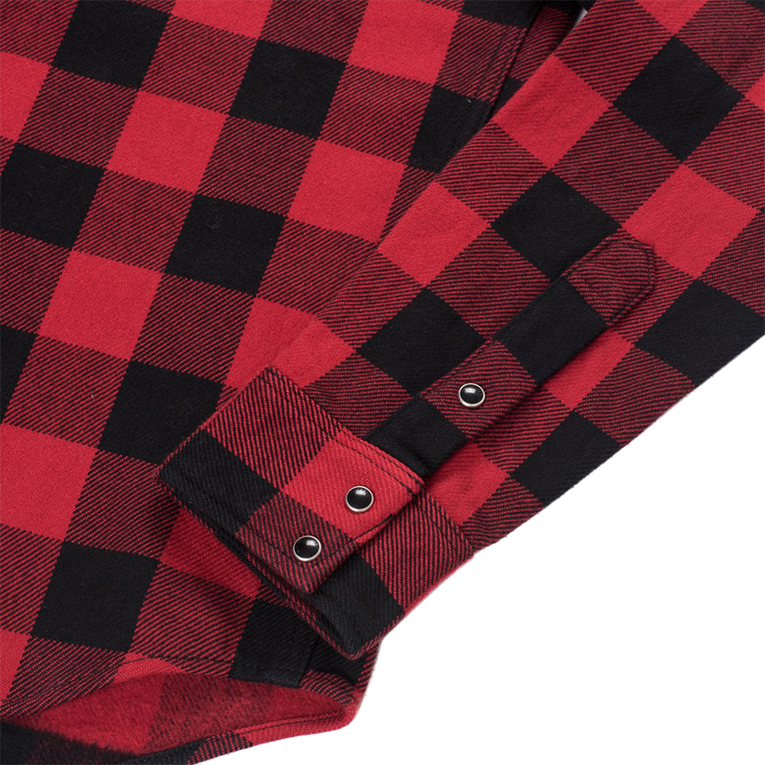 IHSH-232-RED - Ultra Heavy Flannel Western Shirt Buffalo Check - Red/Black