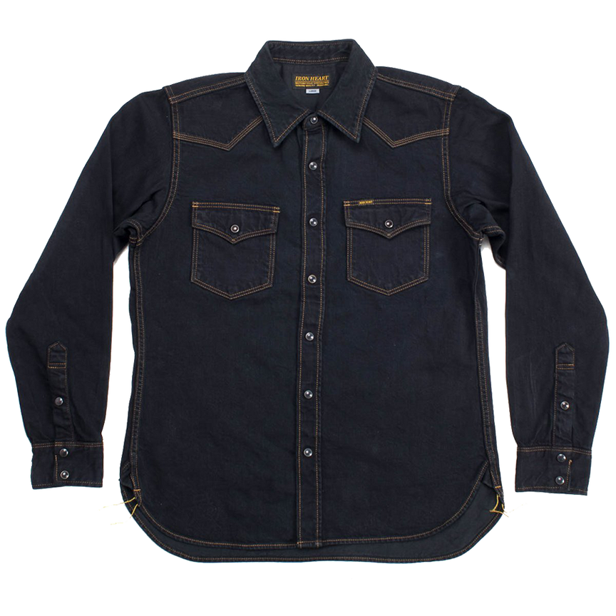 IHSH-33B - 12oz Selvedge Denim Western - Black  Overdyed