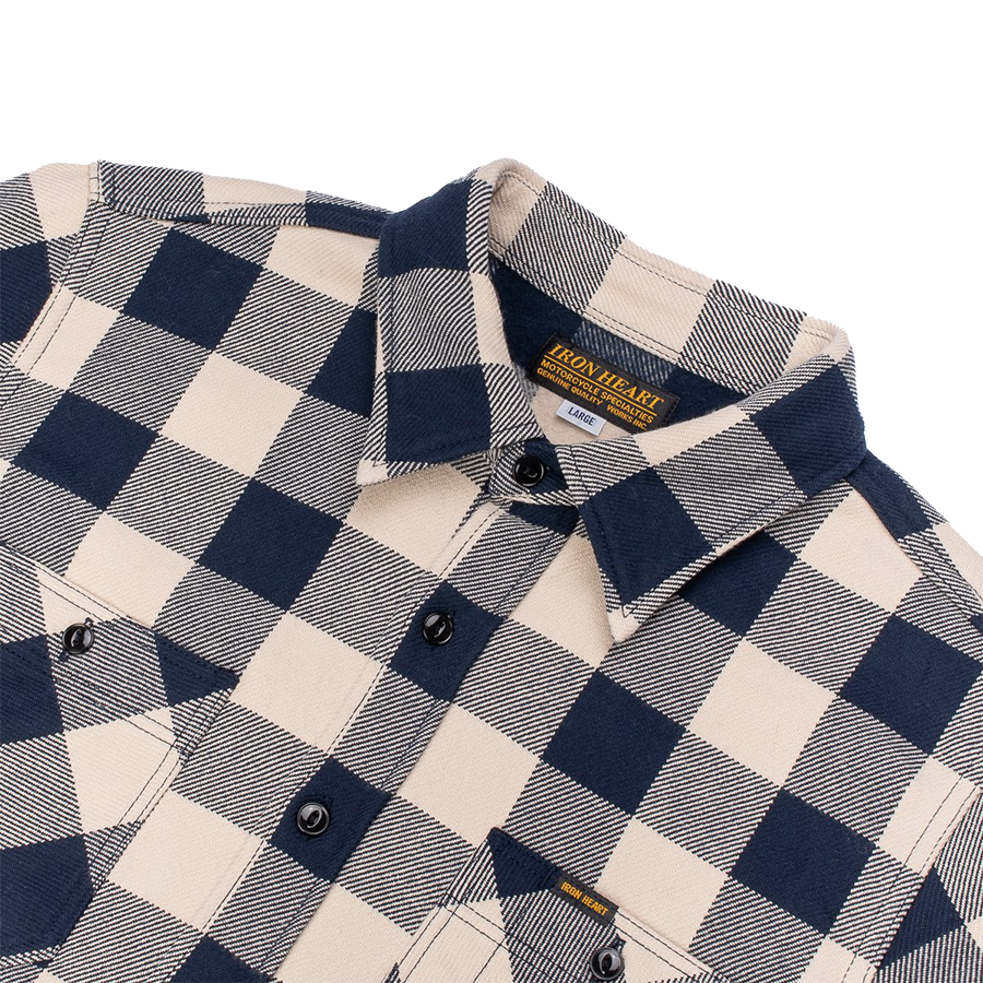IHSH-258-NAV - Buffalo Check Ultra Heavy Flannel Work Shirt - Navy, Ivory