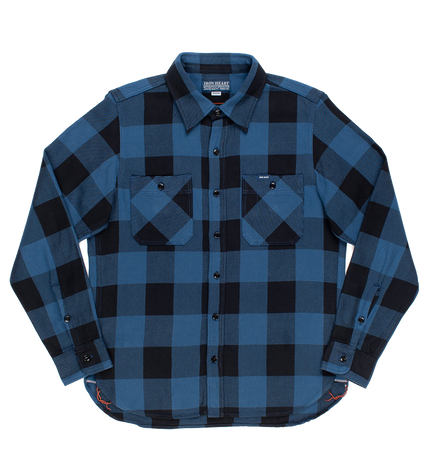 IHSH-251-IND - 9oz Selvedge Flannel Check Work Shirt - Indigo/Dark Indigo