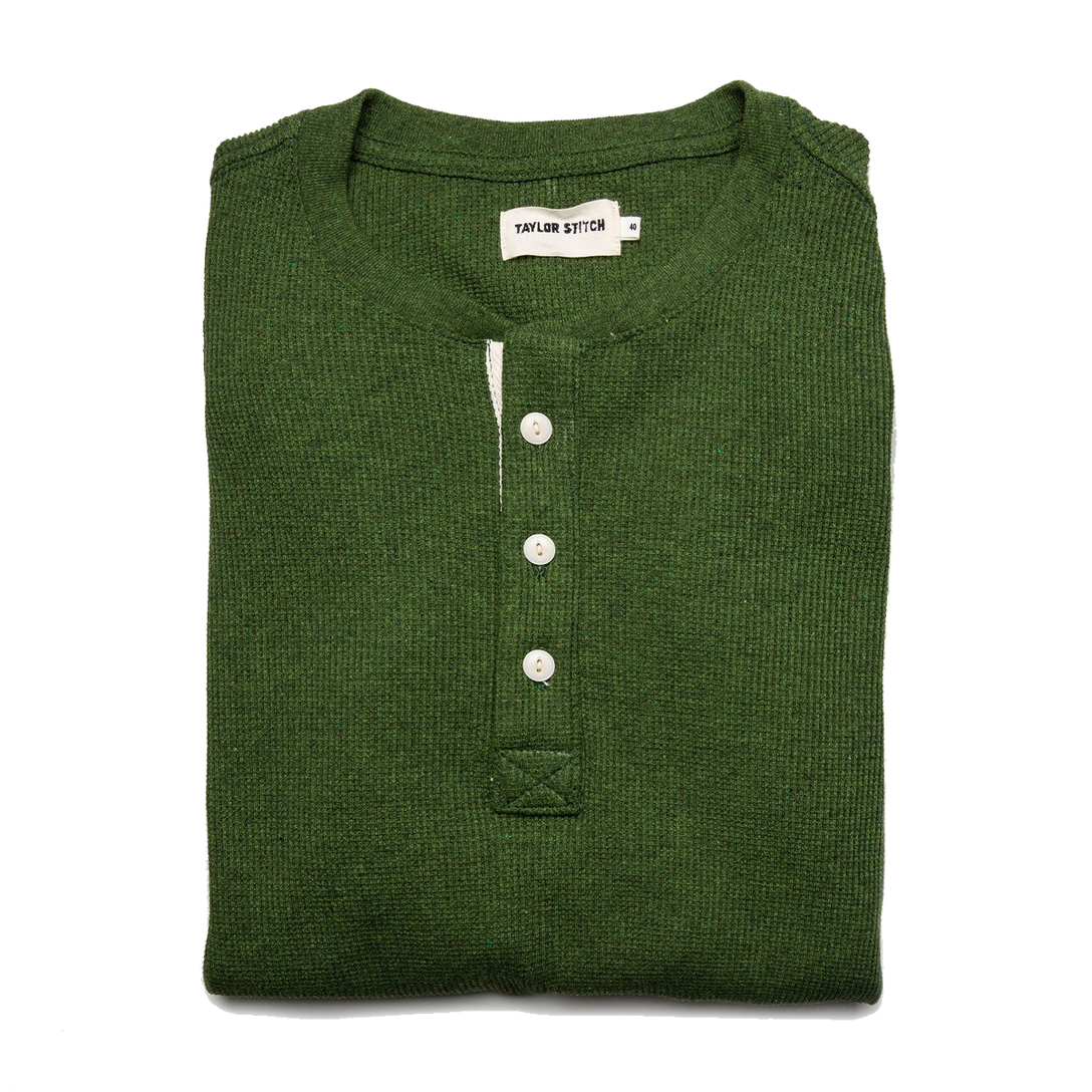 The Heavy Bag Waffle Henley - Heather Olive