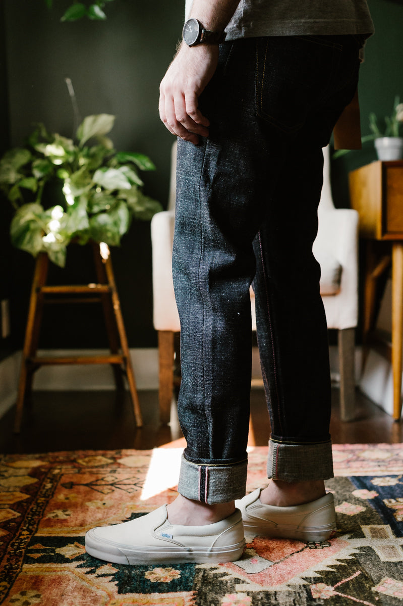 16oz - Texture Selvedge Indigo Embroidery Stripes - Tight Tapered