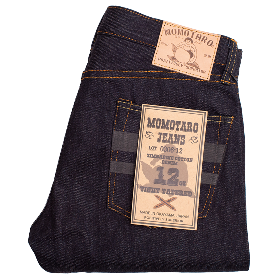 12oz - Zimbabwe Cotton Selvedge Black Battle Stripes - Tight Tapered - 0306-12