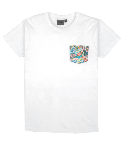 Pocket Tee - White Flower Painting
