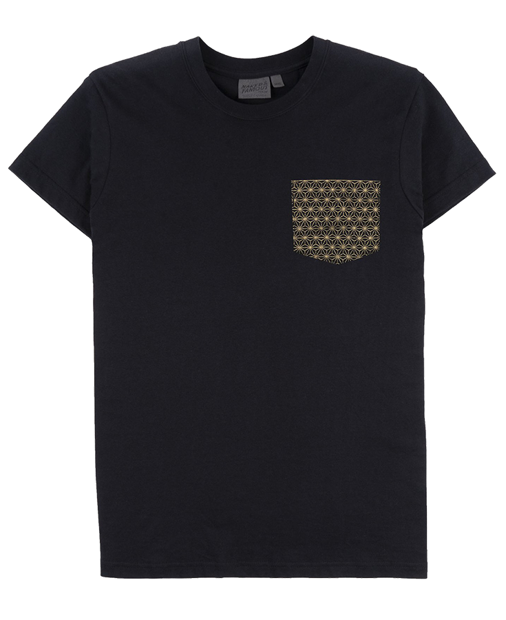 Pocket Tee Black - Japanese Golden Kimono