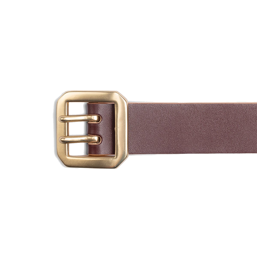 Double Prong Brass Garrison Buckle Leather Belt - Hand-Dyed Brown