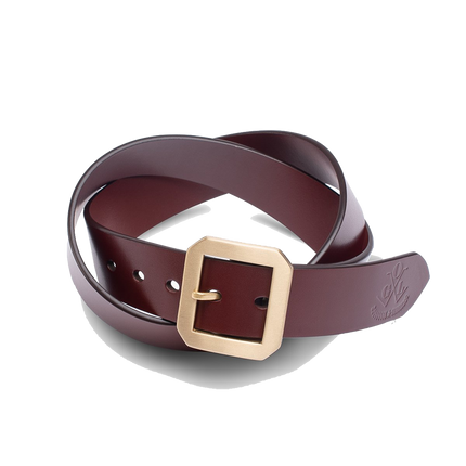 Single Prong Brass Garrison Leather Belt - Brown