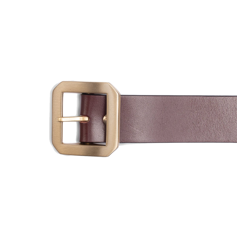 Single Prong Brass Garrison Buckle Leather Belt - Brown
