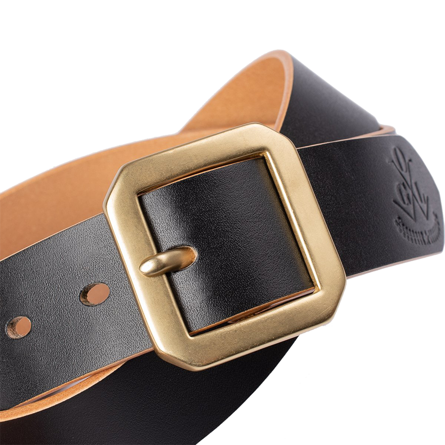 Single Prong Brass Garrison Leather Belt - Hand-Dyed Black