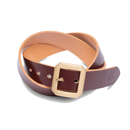Single Prong Brass Garrison Leather Belt - Hand-Dyed Brown