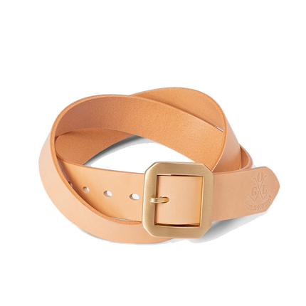 Single Prong Brass Garrison Leather Belt - Natural