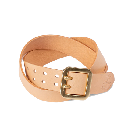 Double Prong Brass Garrison Buckle Leather Belt - Natural