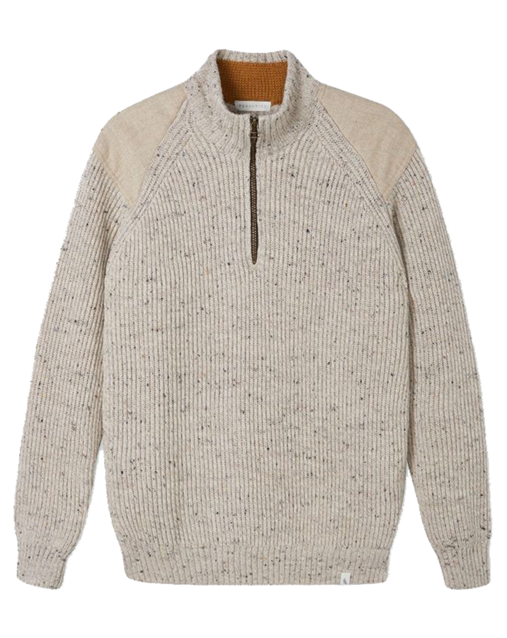Foxton 1/4 Zip Neck Jumper - Oatmeal