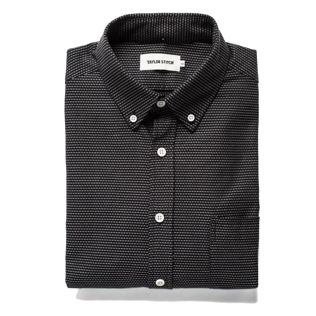 The Jack Button Down - Black Reverse Jacquard