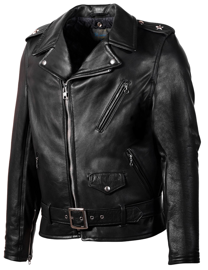 519 - Black Waxy Natural Cowhide Moto Jacket