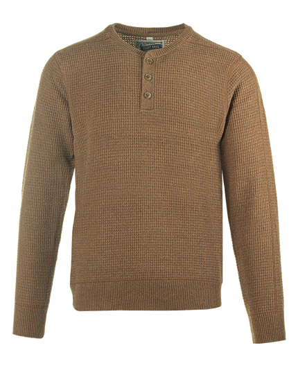 SW1611 - Button Henley Sweater - Camel