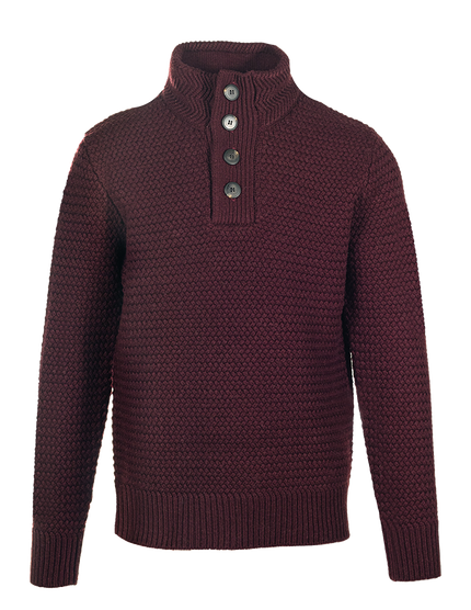 SW1614 - Funnel Neck Military Sweater - Burgundy