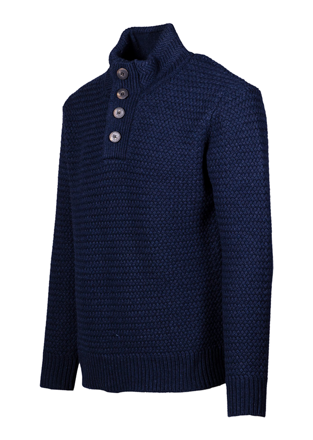 SW1614 - Funnel Neck Military Sweater - Navy