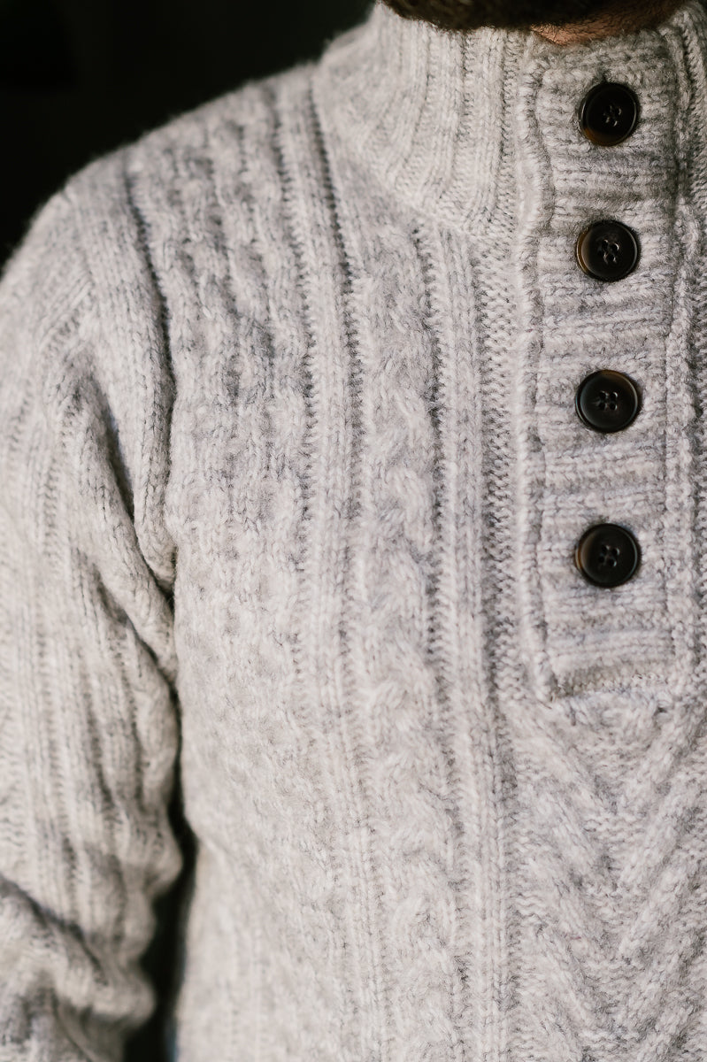 SW2014 - Triple Blend Cableknit Henley Sweater - Cloud Grey