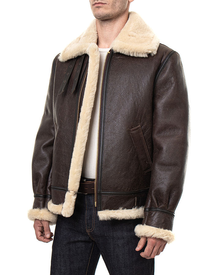Classic B-3 Sheepskin Leather Bomber Jacket - Brown/Cream