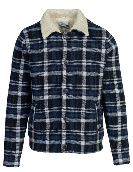 F1957 - Plaid Sherpa Lined Sweater Jacket - Navy