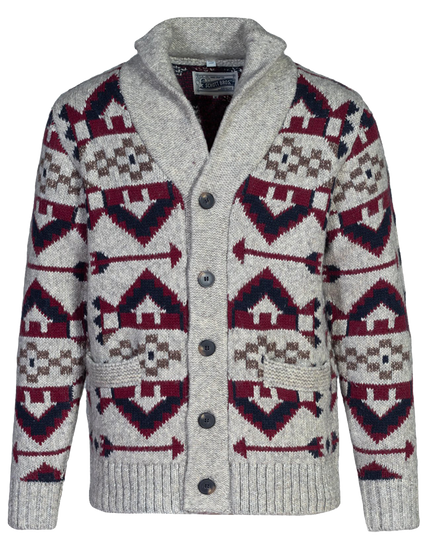 SW1948 - Heavyweight Navajo Yak Blend Cardigan - Limestone