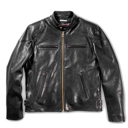 Café Racer Leather Jacket - Black