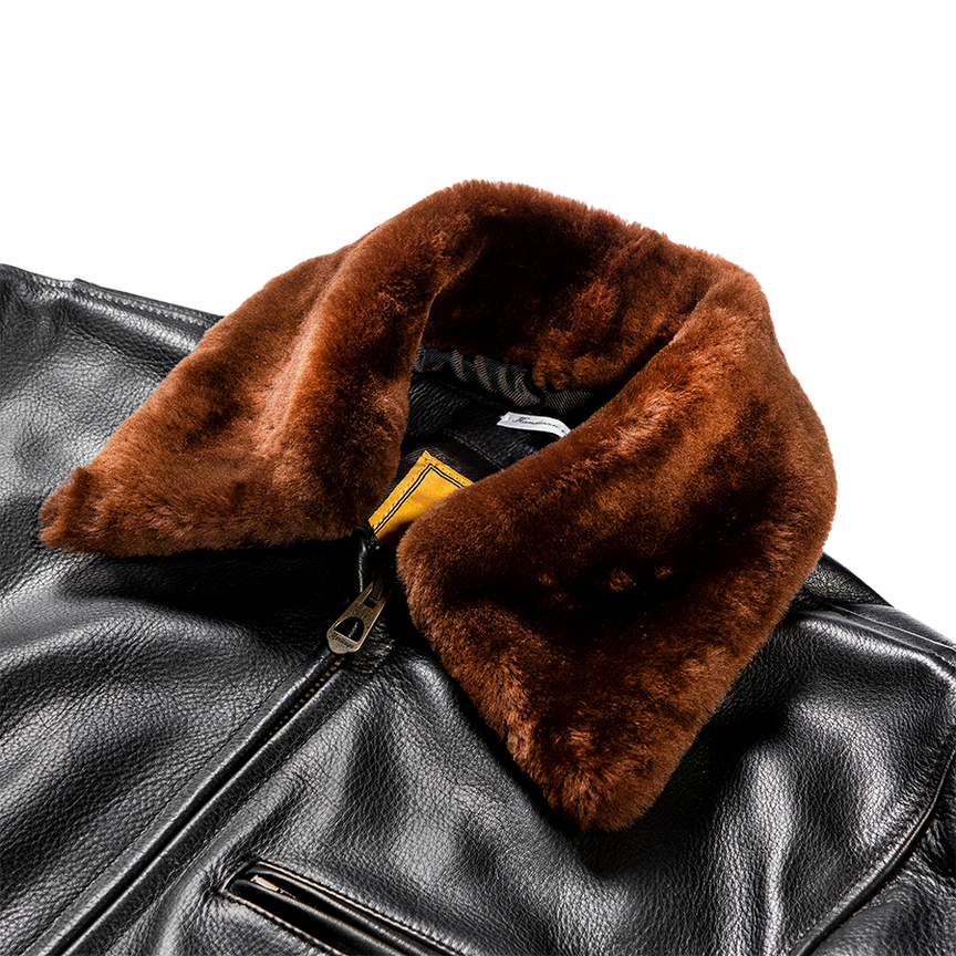 Varenne Fur Collar Leather Jacket - Black