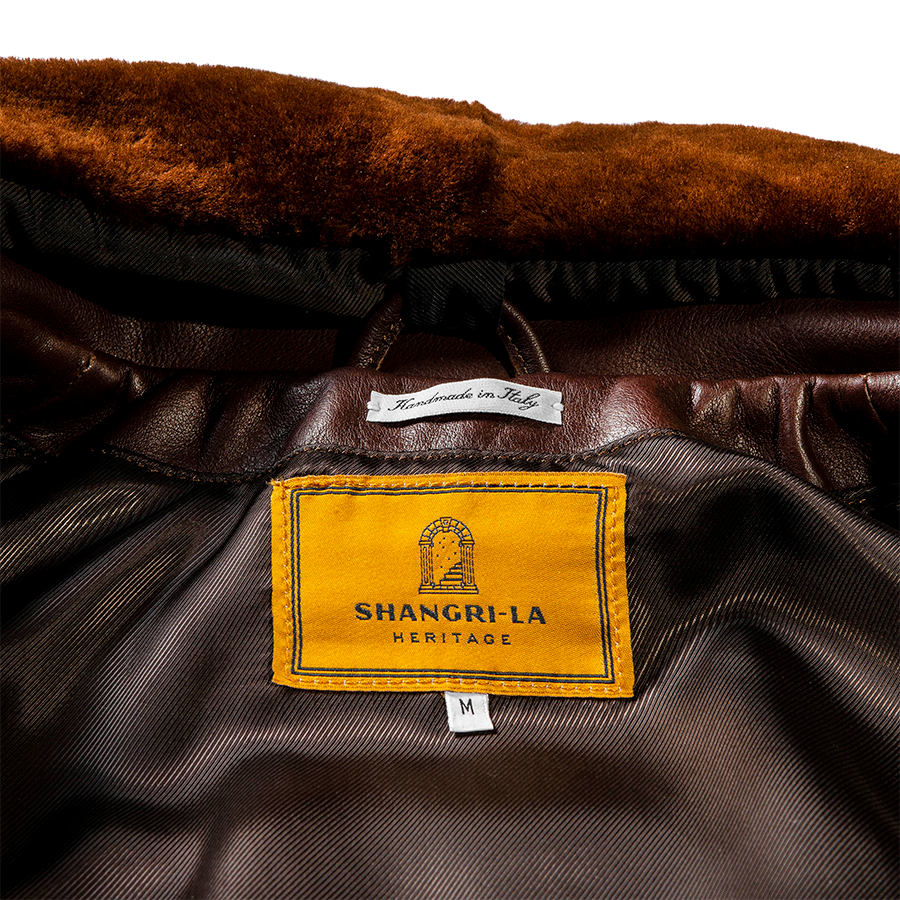 Varenne Fur Collar Leather Jacket - Brown