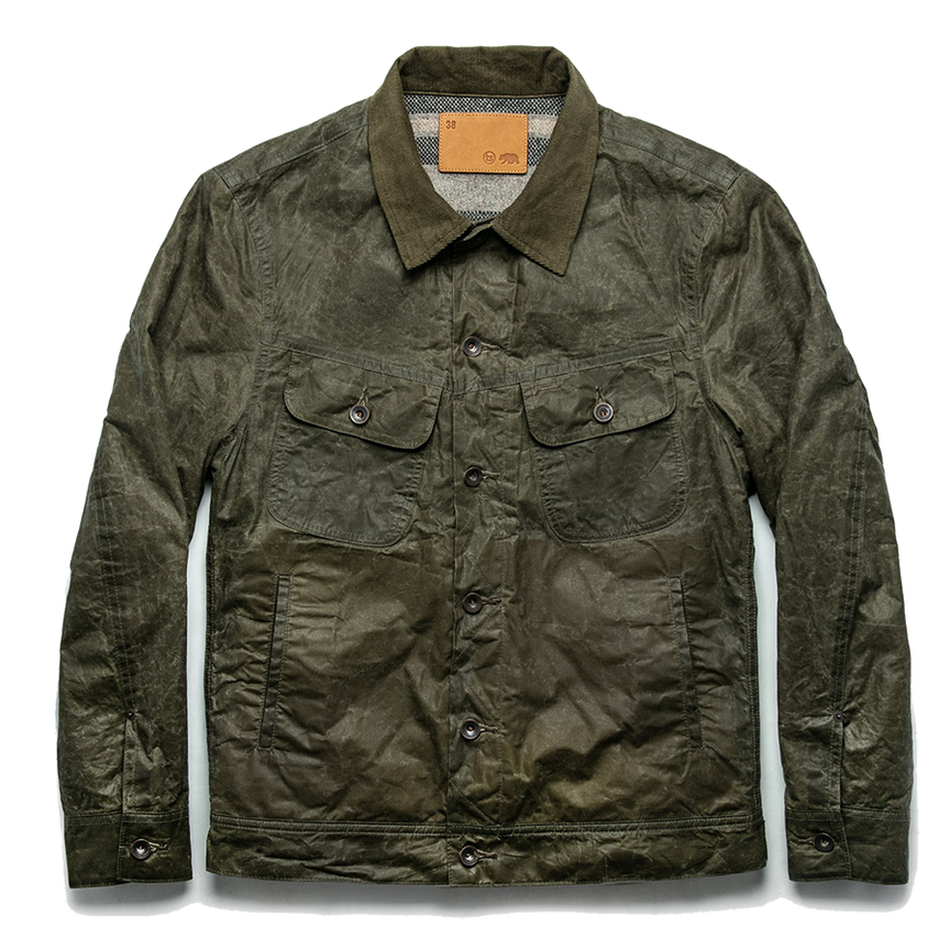 The Lined Long Haul Jacket - Olive Waxed Canvas