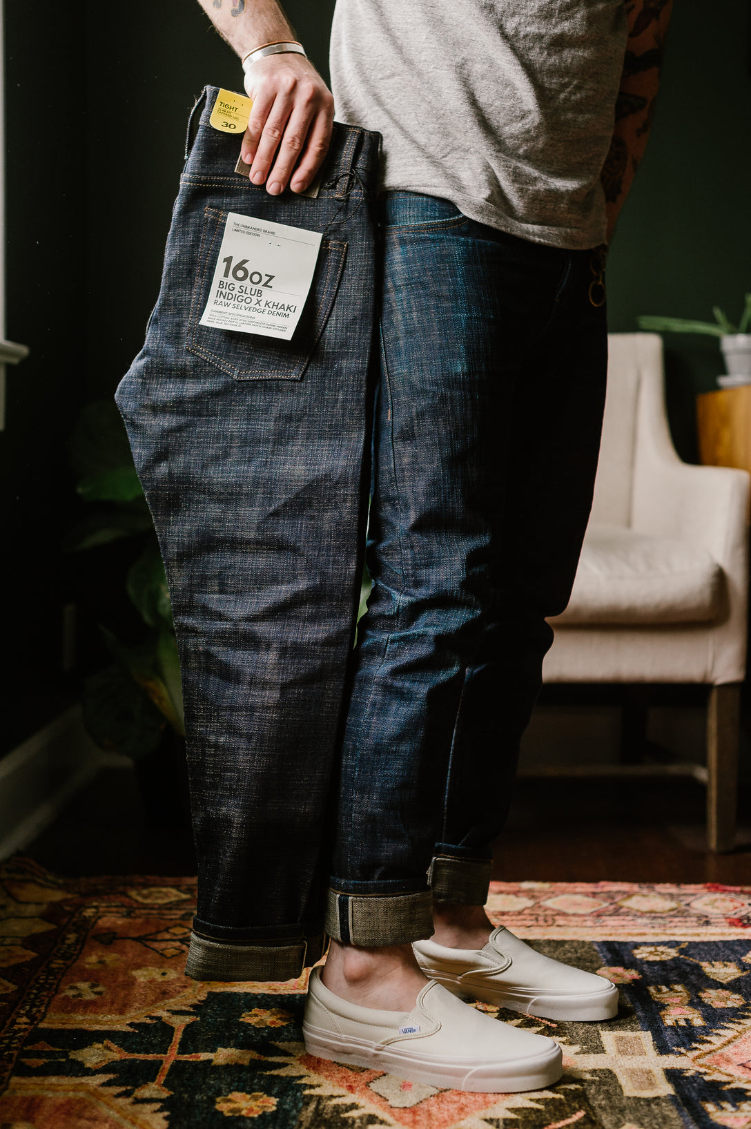 UB473 - 16oz Slubby Selvedge Denim - Indigo/Khaki