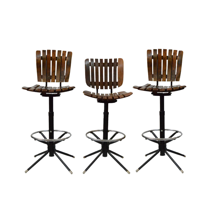 Vintage Wood and Metal Swivel Bar Stool Trio