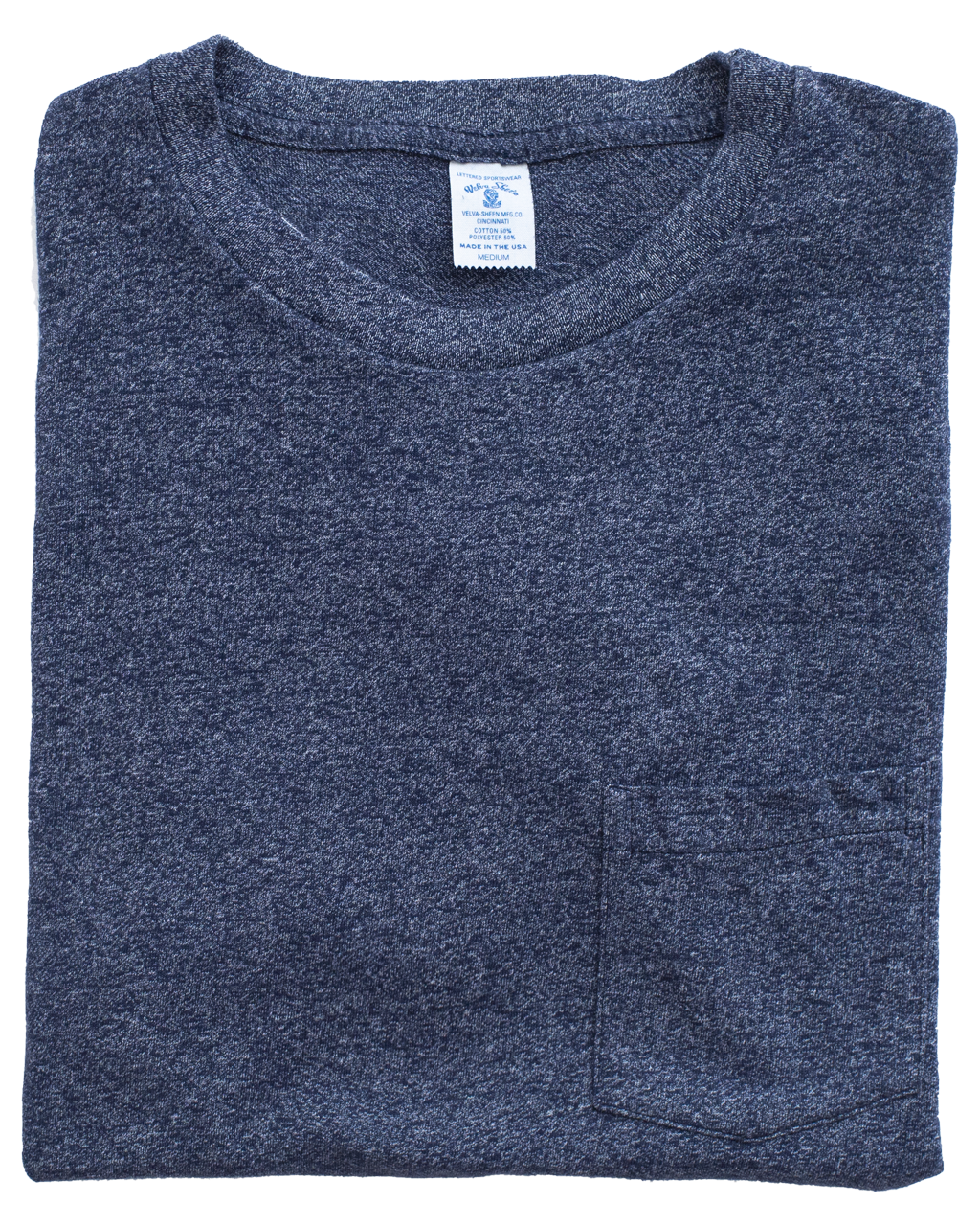 Mock Twist Crew Neck Pocket Tee - Navy