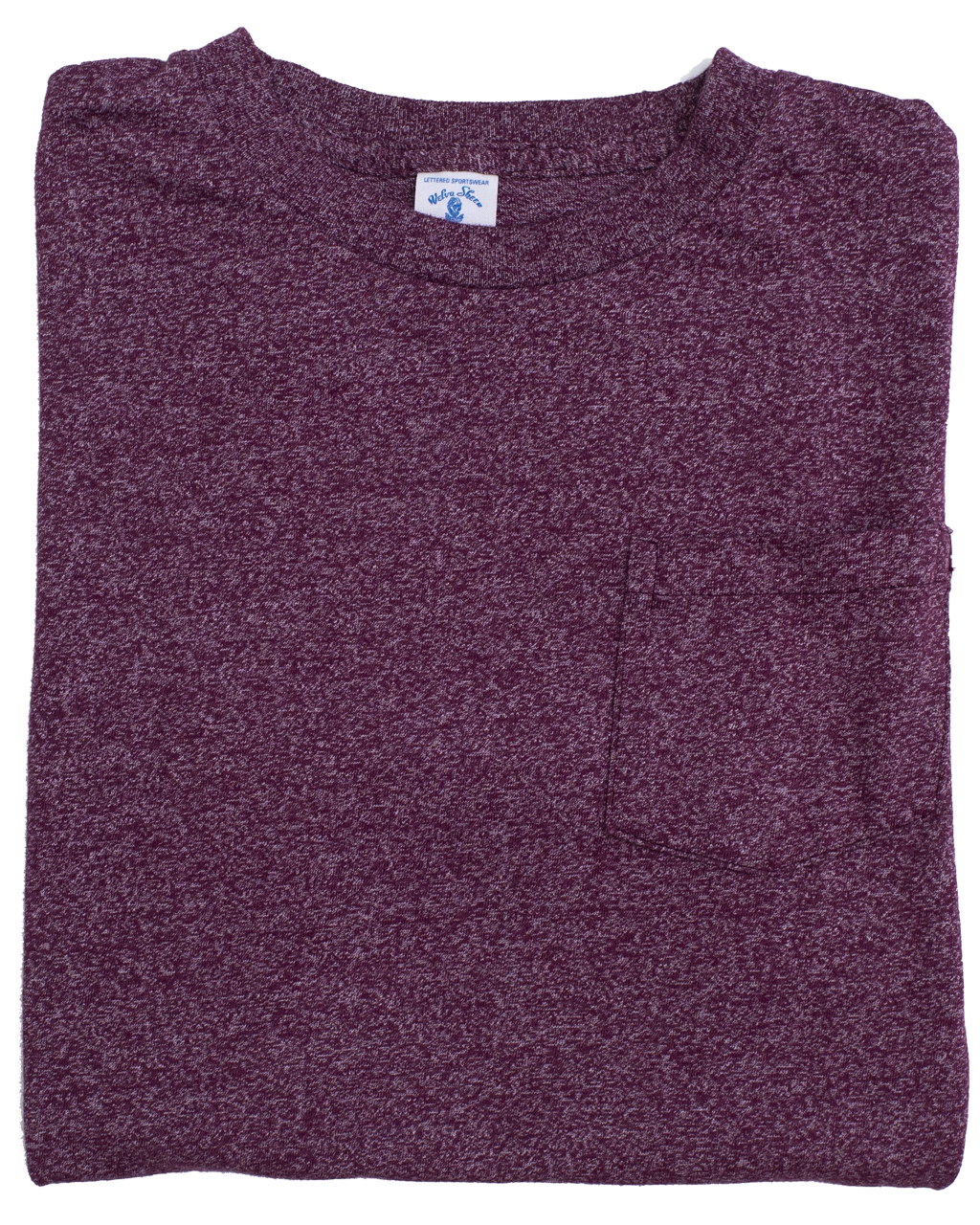 Mock Twist Crew Neck Pocket Tee - Heather Burgundy