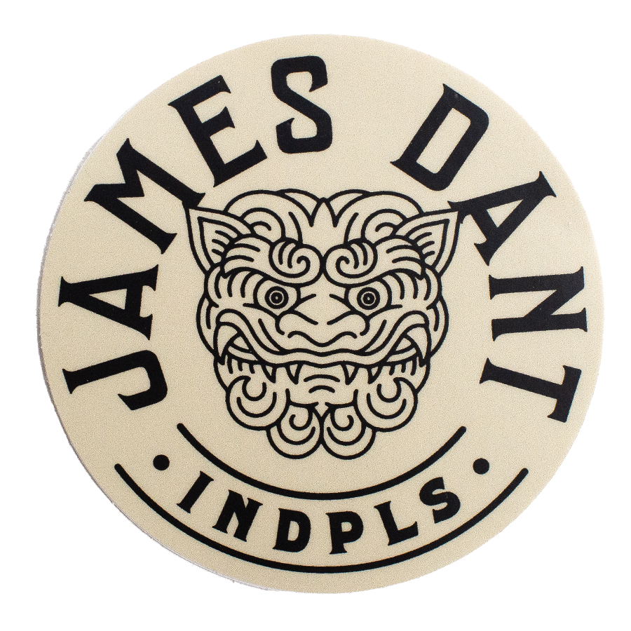 James Dant Round Logo Sticker - Cream